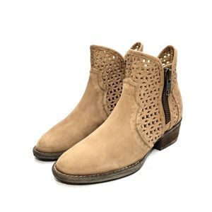 Circle G Tan Laser Cut Nubuck Ankle Boots